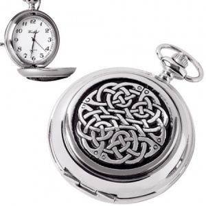 Celtic Knot Pewter Quartz Pocket Watch (can be personalised)