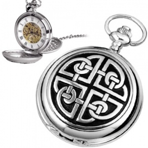 Traditional Celtic Knot Pewter Mechanical Skeleton Pocket Watch (can be personalised)