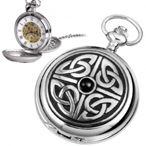 Celtic Knot with Stone Pewter Mechanical Skeleton Pocket Watch (can be personalised)