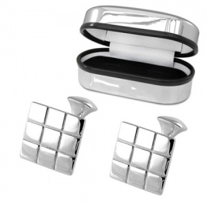 Square Chequered Sterling Silver Cufflinks (can be personalised)