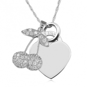 Cherries Cubic Zirconia & Sterling Silver Heart Necklace (can be personalised)
