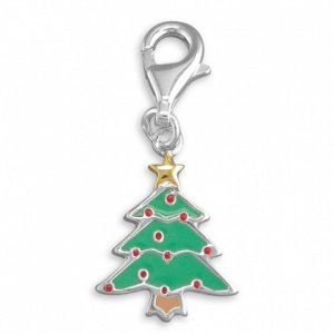 Christmas Tree Enamel and Sterling Silver Charm