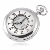 Half Hunter Full Sized Chrome Plated Window Pocket Watch (can be personalised)
