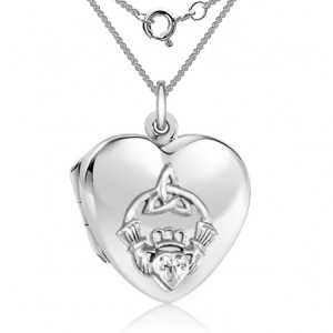 Irish Claddagh Sterling Silver & Cubic Zirconia Locket Necklace (can be personalised)