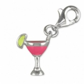 Cocktail Glass with Pink Enamel & Sterling Silver Charm
