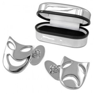 Comedy & Tragedy Theatre Mask Sterling Silver Cufflinks (can be personalised)