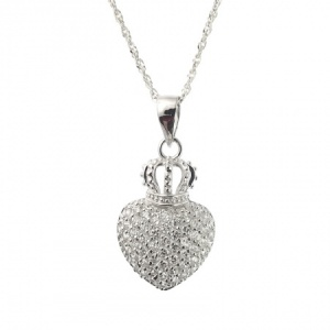 Crowned Heart Sterling Silver & Cubic Zirconia Necklace