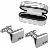 Cubic Zirconia Curve Sterling Silver Cufflinks (can be personalised)