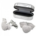 Cubic Zirconia & Sterling Silver Heart with Wings Cufflinks (can be personalised)