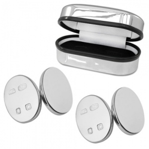 Double Sided Oval Feature Hallmarked Sterling Silver Cufflinks (can be personalised)