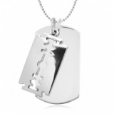 Razor Blade & Dog Tag Sterling Silver Necklace (can be personalised)