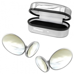 Double Sided Oval Mother of Pearl Sterling Silver Cufflinks (can be personalised)