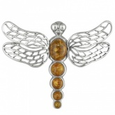 Dragonfly Sterling Silver Brooch Set with Cognac Amber