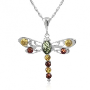 Dragonfly Sterling Silver & Mixed Amber Necklace