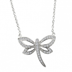 Dragonfly Sterling Silver Necklace with Cubic Zirconia Stones
