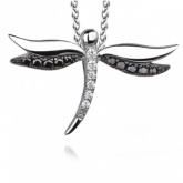 Dragonfly Sterling Silver & Cubic Zirconia Necklace by Real Effect
