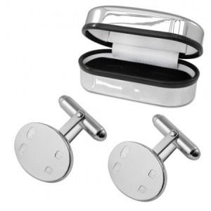 Feature Hallmarked Oval Sterling Silver Cufflinks (can be personalised)