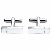 Bar Sterling Silver Cufflinks with Channel Set Diamonds by Fred Bennett (can be personalised)