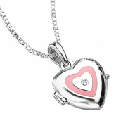 Girls Pink Heart Shaped Locket Sterling Silver & Diamond by D for Diamonds (can be personalised)