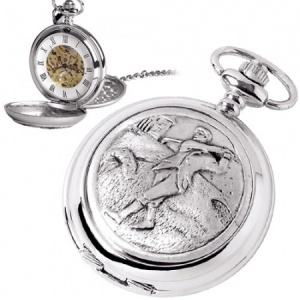 Golf Pewter Mechanical Skeleton Pocket Watch (can be personalised)