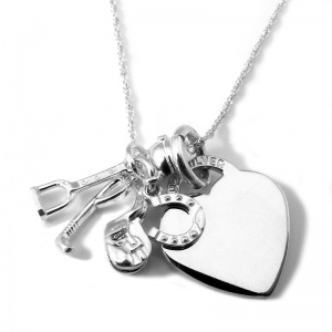 Horse Themed Sterling Silver Equestrian Heart Necklace (can be personalised)
