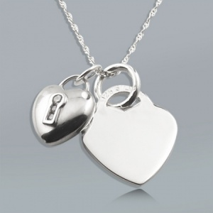 Heart Padlock Cubic Zirconia and Heart Sterling Silver Necklace (can be personalised)