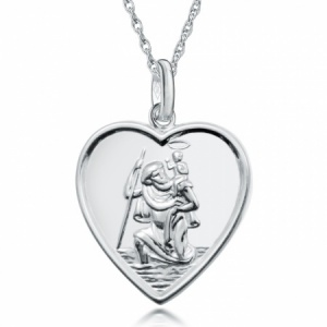 St Christopher Heart Shaped Sterling Silver Necklace (can be personalised)