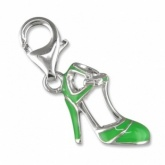 High Heel Shoe Green Enamel & Sterling Silver Charm