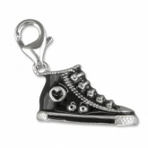 High Top Trainer Black Enamel & Sterling Silver Charm