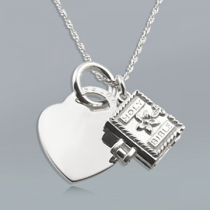 Holy Bible and Heart Sterling Silver Necklace (can be personalised)