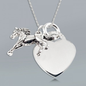 Equestrian Horse and Heart Sterling Silver Necklace (can be personalised)