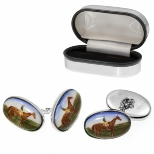 Horse Racing Sterling Silver Cufflinks (can be personalised)