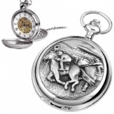 Horse Racing Pewter Mechanical Skeleton Pocket Watch (can be personalised)