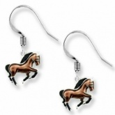 Horse Sterling Silver & Enamel Drop Earrings