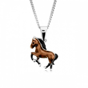 Horse Coloured Enamel Sterling Silver Necklace with Gift Box