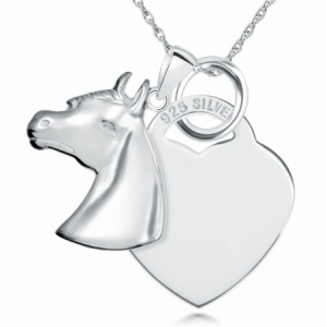 Equestrian Horses Head and Heart Sterling Silver Necklace (can be personalised)