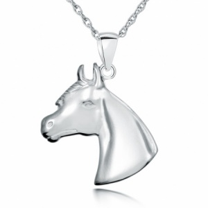Equestrian Horses Head Sterling Silver Necklace