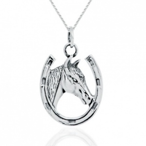 Horseshoe & Horse Sterling Silver Necklace/Pendant