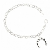 Ladies Horseshoe (Equestrian) Sterling Silver Bracelet