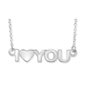 I Love You Heart Cutout Sterling Silver Necklace with 16 Inch Chain