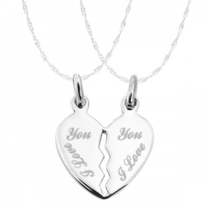 I Love You, Split Broken Heart Sterling Silver Necklace (can be personalised)