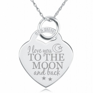 I Love You to the Moon & Back Heart Shaped Sterling Silver Necklace (can be personalised)