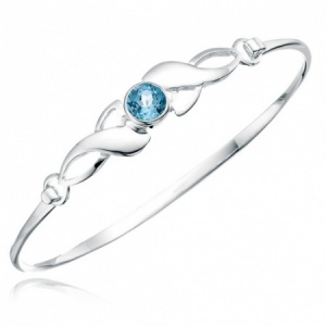Ladies Celtic Style Blue Topaz Bangle Hallmarked Sterling Silver