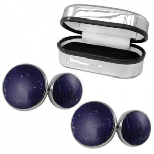 Double Sided Round Lapis Sterling Silver Cufflinks (can be personalised)
