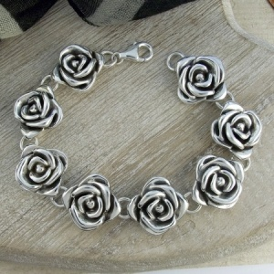 Ladies Large Rose Sterling Silver Bracelet