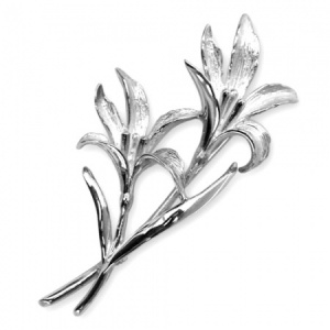 Lily Flower Stems Sterling Silver Brooch