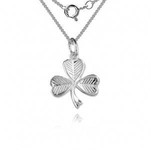 'A Lucky Irish Shamrock' 925 Solid Silver Necklace/Pendant with Gift Box