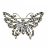 Open Sterling Silver and Marcasite Butterfly Brooch