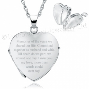 Loss of Spouse Heart Shaped Sterling Silver 4 Photo Locket (can be personalised)