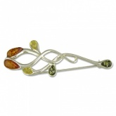 Mixed Amber Leaves Sterling Silver Fancy Brooch